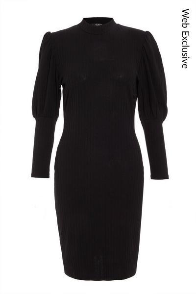 Black Ribbed Puff Sleeve Midi Dress